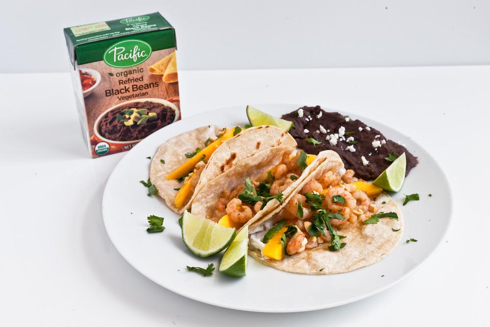 Spiced Mango Shrimp Tacos with Black Refried Beans