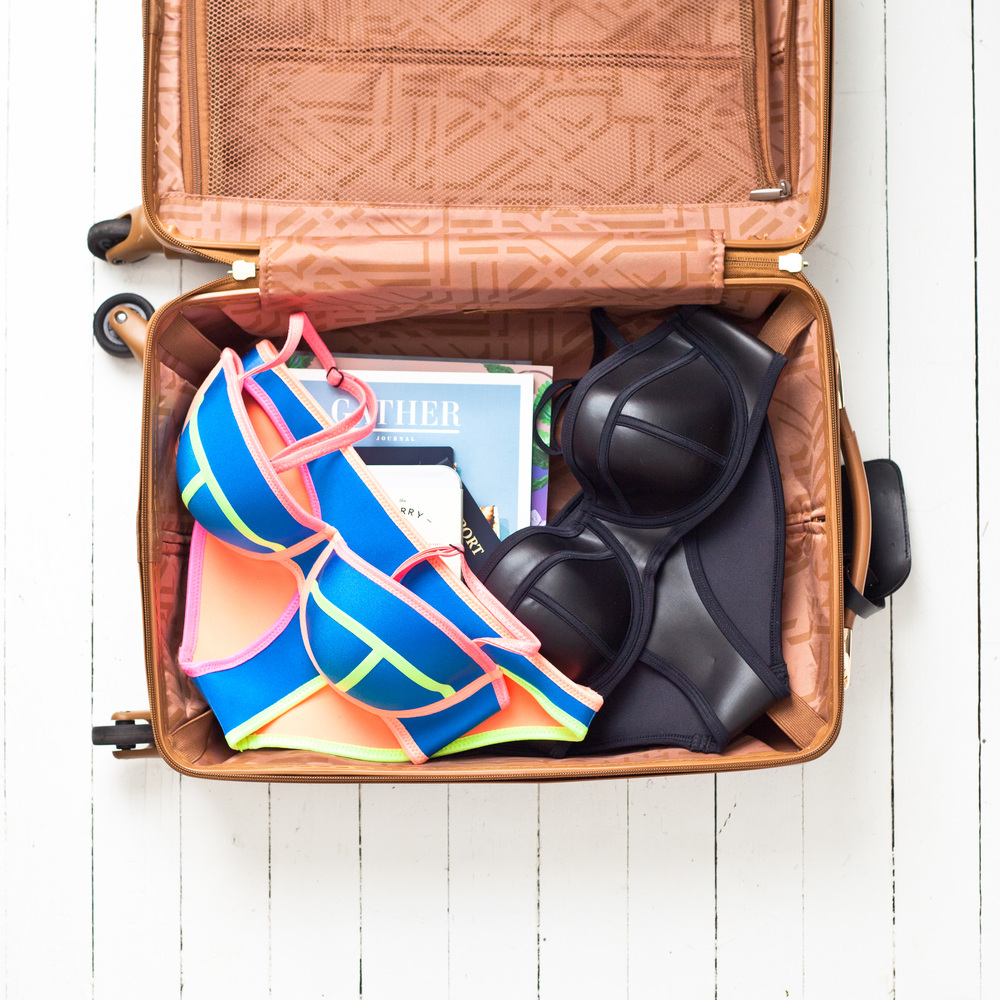 dvf suitcase, beach travel