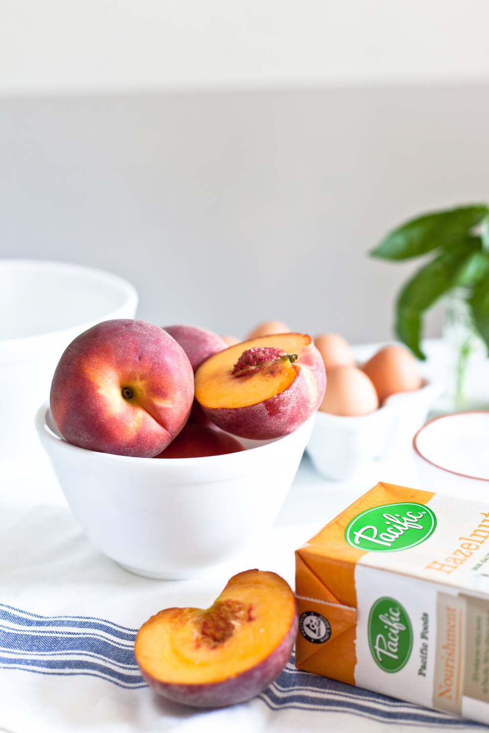 Hazelnut Milk Ice Cream With Summer Peaches