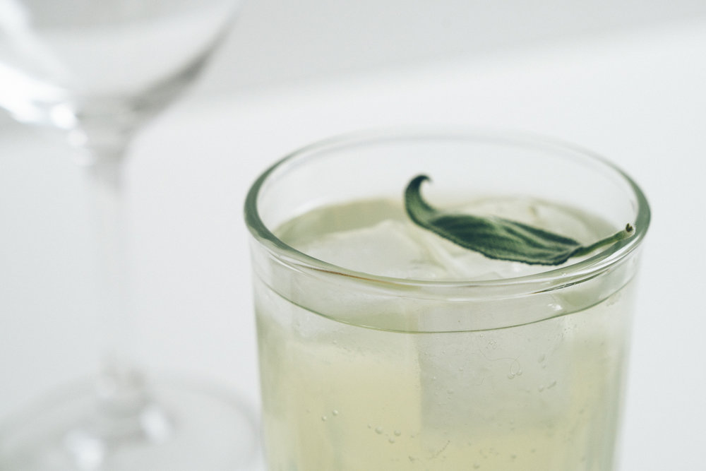 Sage Gin and Tonic with Preserved Lemon