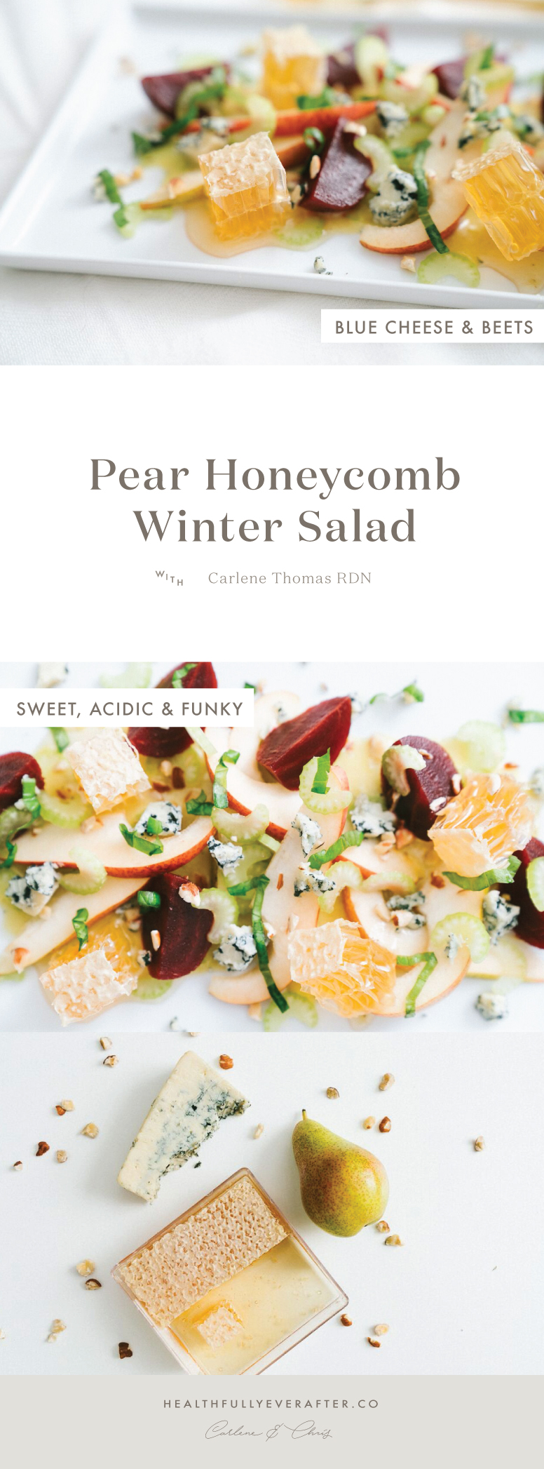 winter pear honeycomb salad