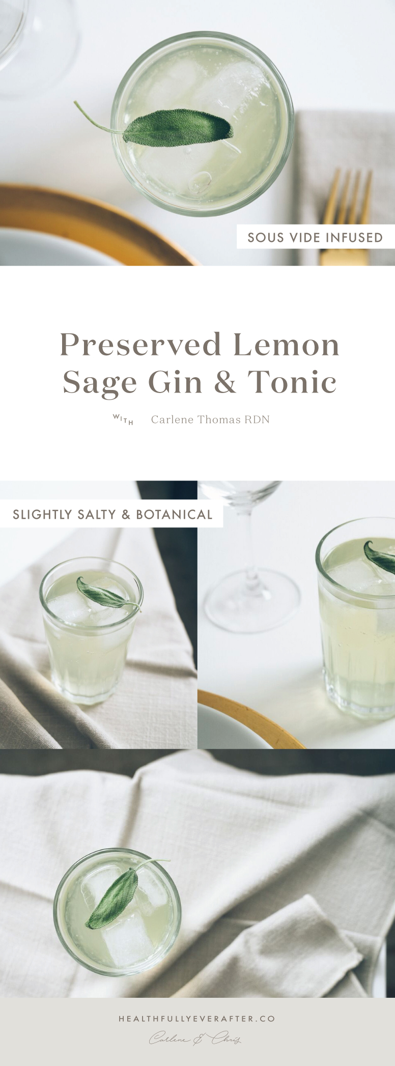 sage gin and tonic cocktail with preserved lemon