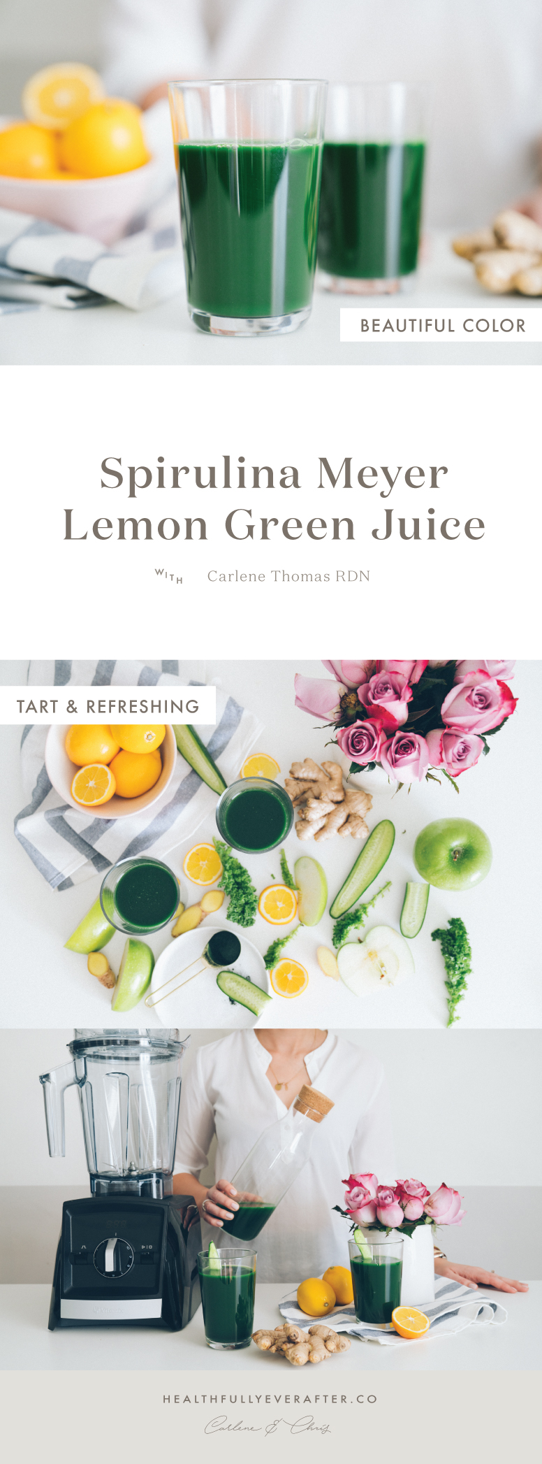 spirulina green juice in a blender