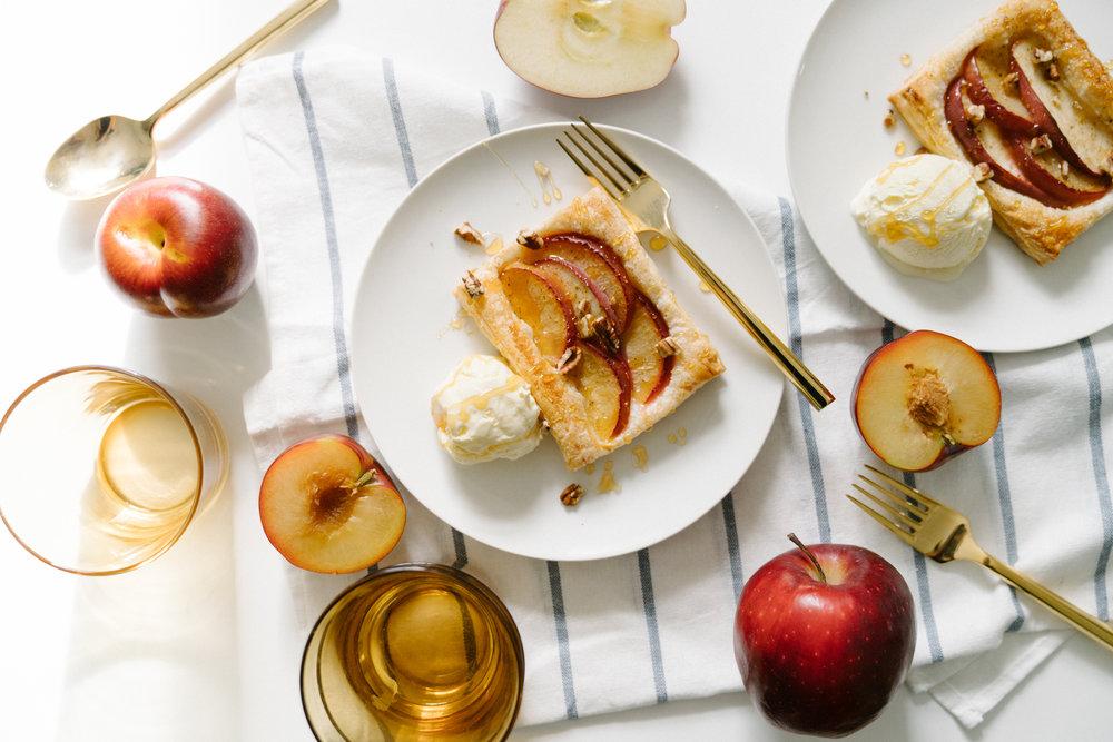 Apple Plum Tart with Goat Cheese Ice Cream