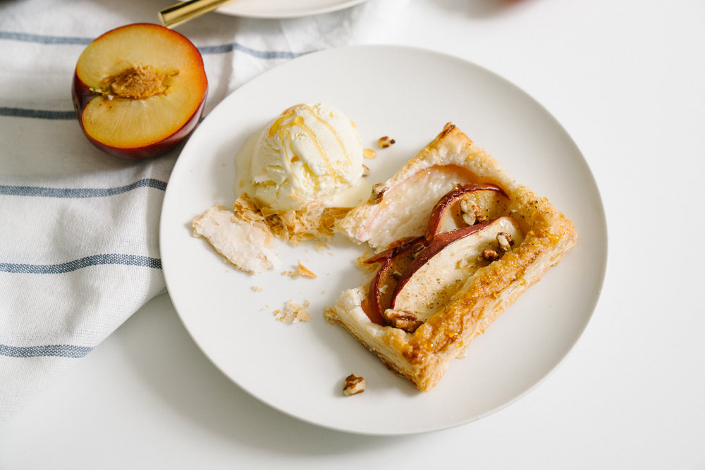 apple plum puff pastry tart with goat cheese ice cream