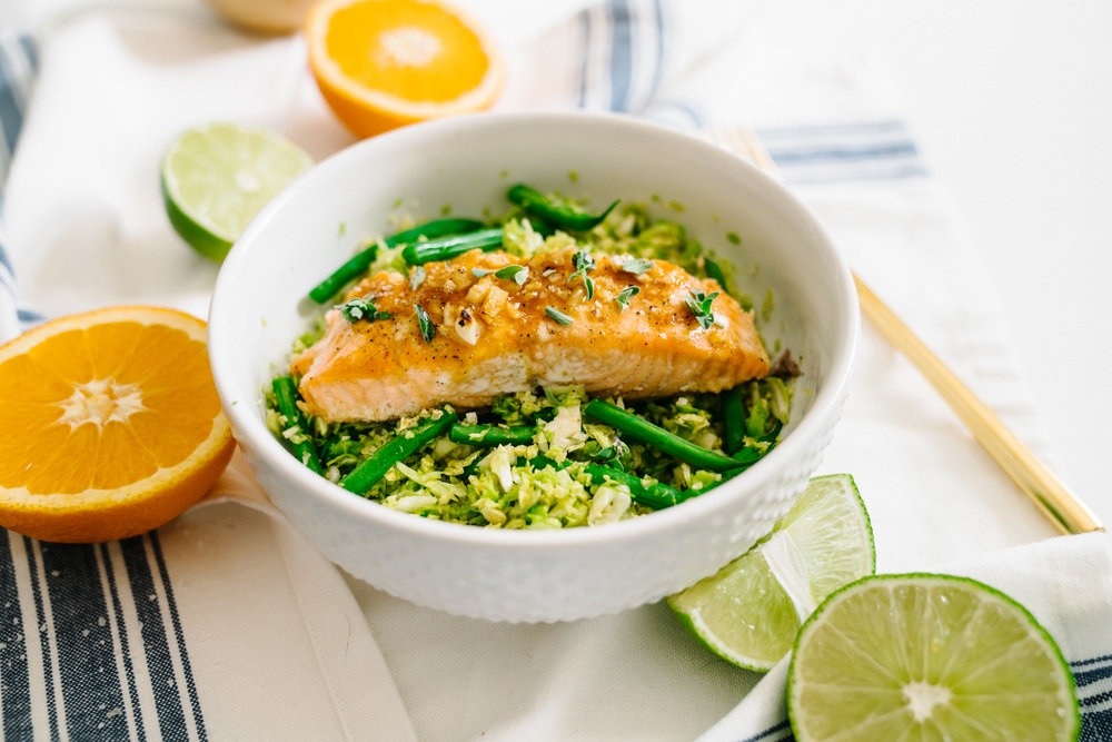 Mojo Lacquered Salmon with Fresh Brussels Sprout Salad