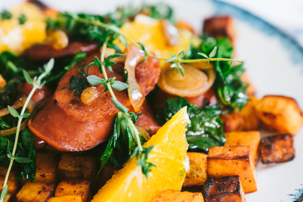 sweet potato kale chorizo hash