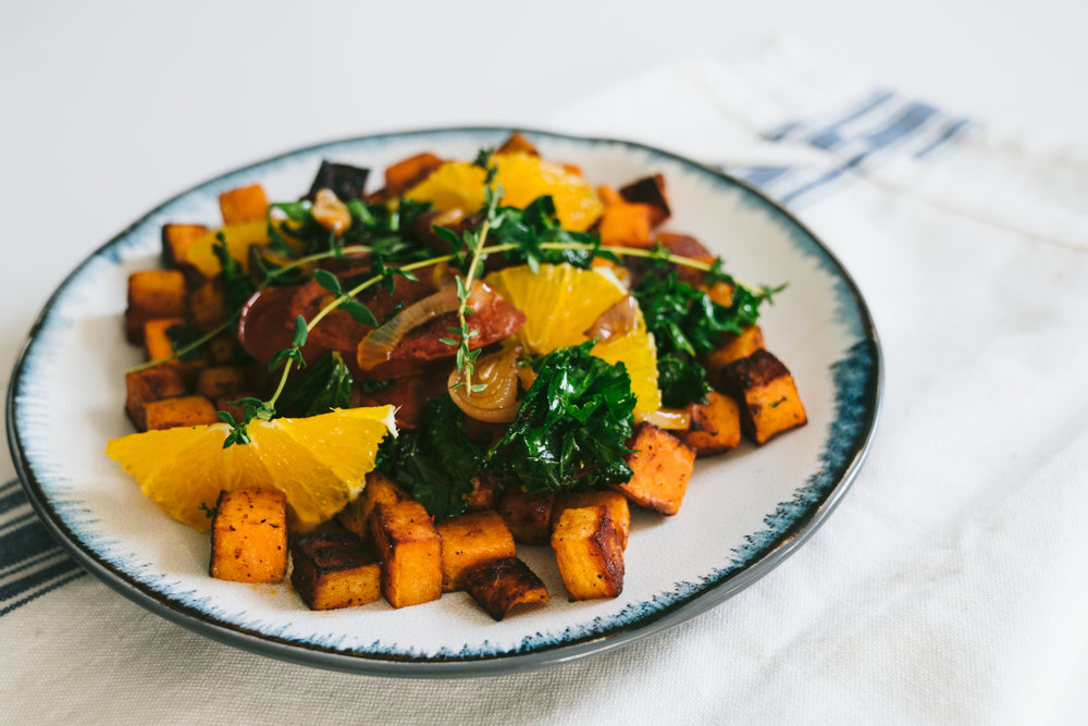 sweet potato chorizo breakfast hash