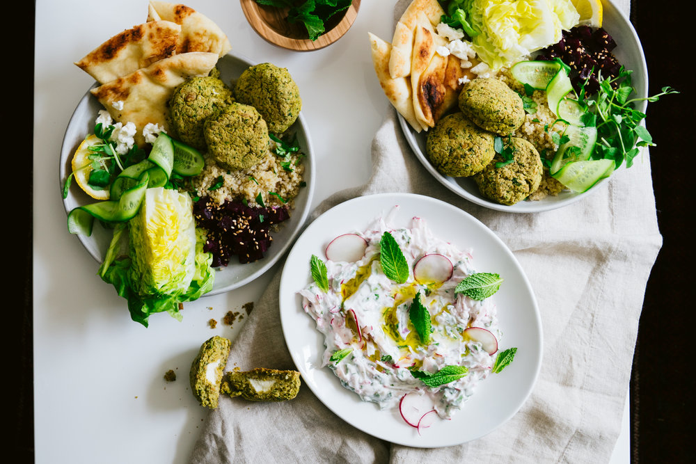 Feta Stuffed and Baked Falafel Bowl