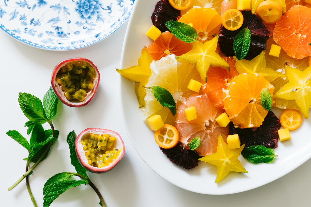 tropical winter fruit salad with spirulina sugar