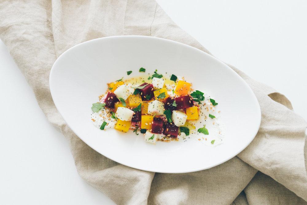 Beet Tartare Ricotta Salad