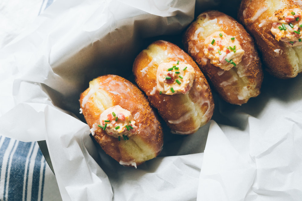 PIMENTO CHEESE OLD BAY FILLED DOUGHNUTS
