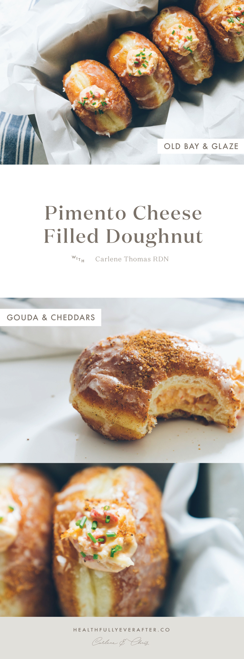 pimento cheese filled old bay doughnut