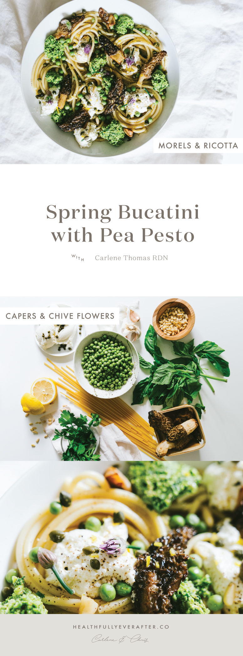 spring bucatini with pea pesto and morrells