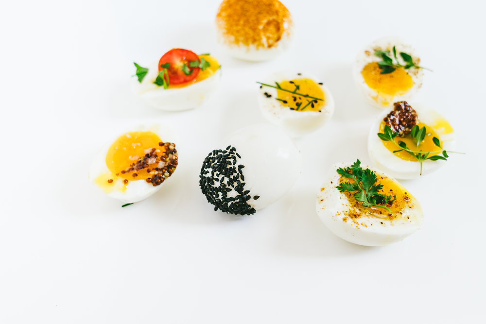 seasoning dipped soft boiled eggs