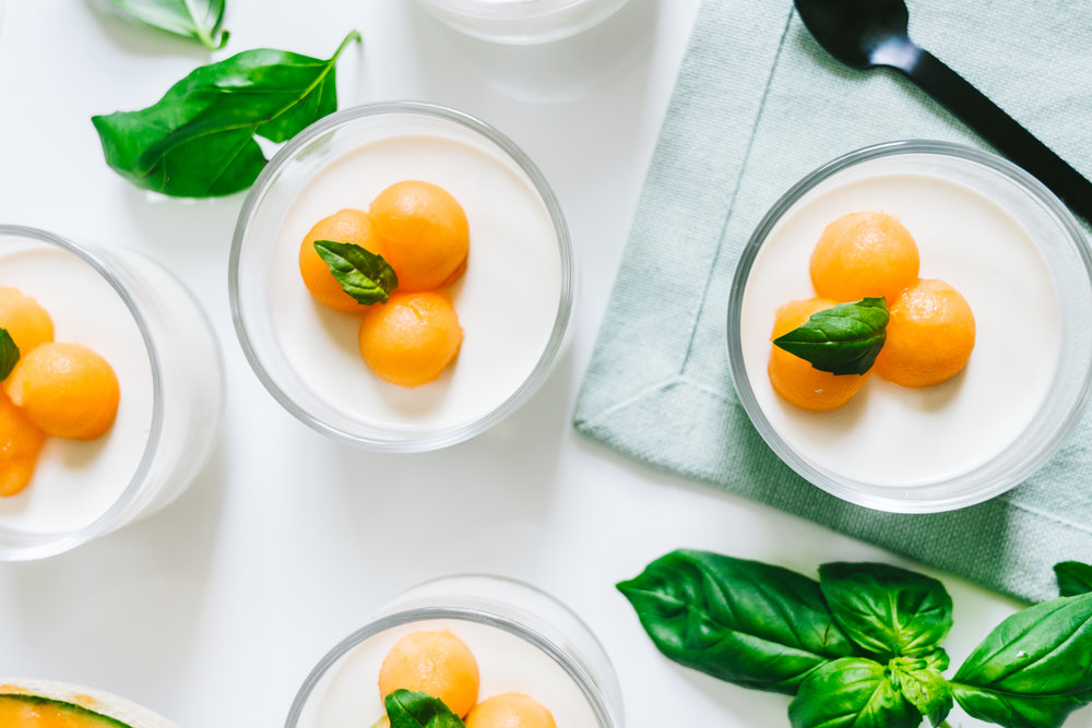 southern cantaloupe prosecco panna cotta with buttermilk