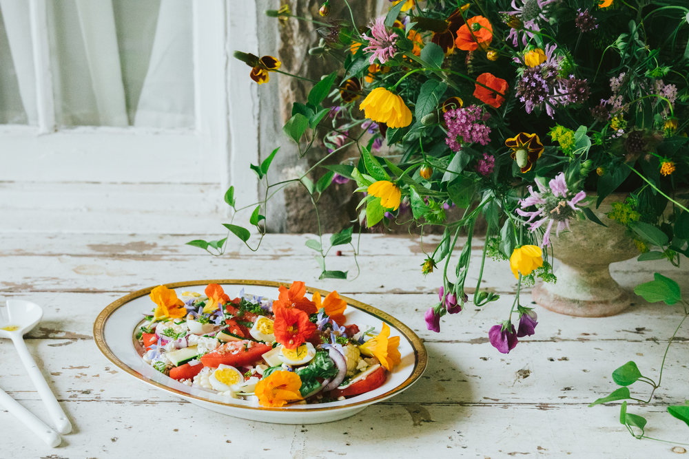 june tomato salad, herbs and country flowers