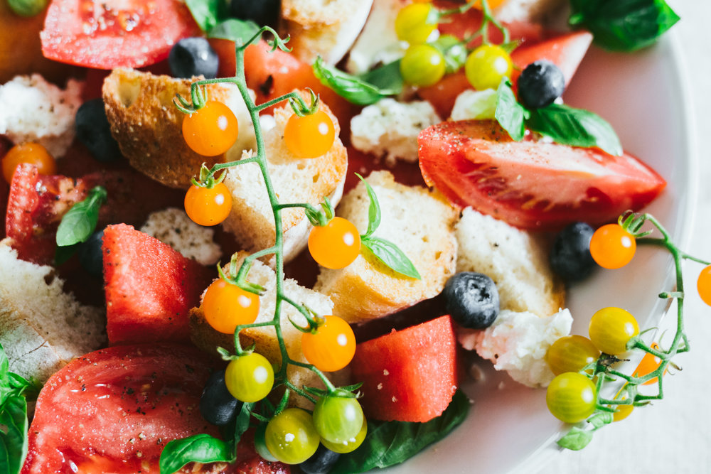 summer watermelon tomato panzanella salad