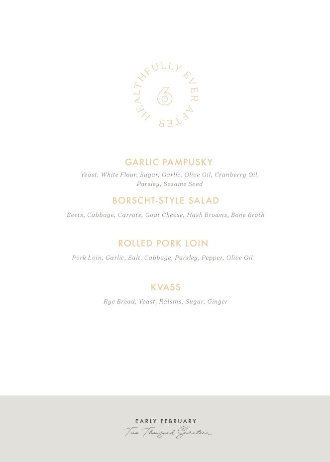 early februrary seasonal menu