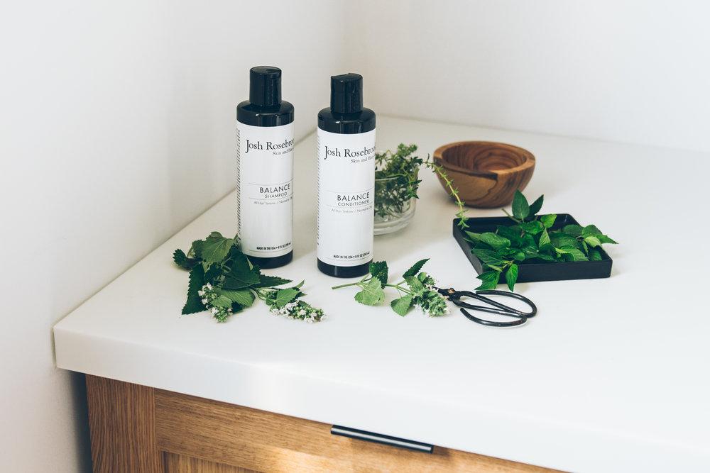 josh rosebrook healthy hair natural shampoo and conditioner, follain