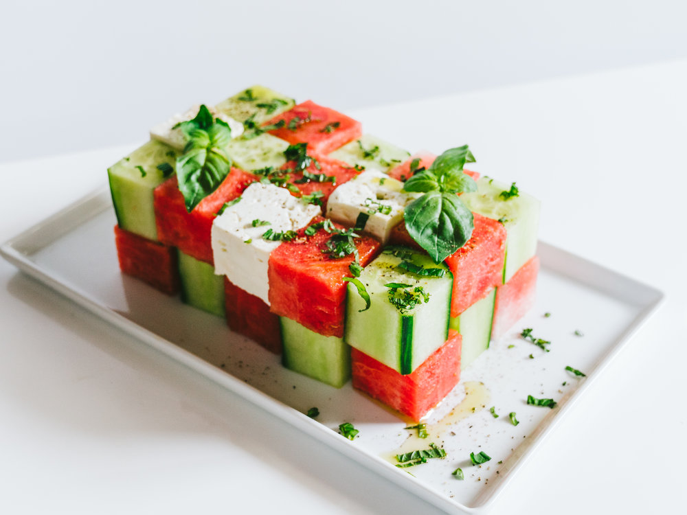 watermelon cucumber feta cube salad