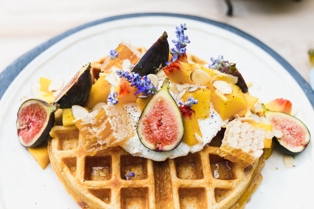 BUTTERMILK WAFFLES WITH PEACHES, FIGS AND HONEYCOMB