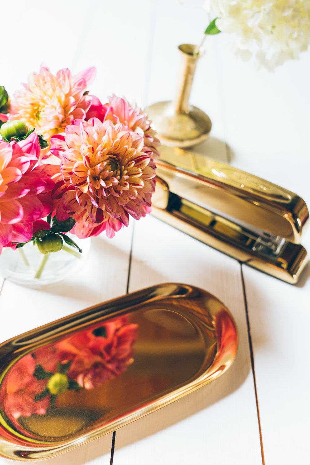flowers and gold desk supplies