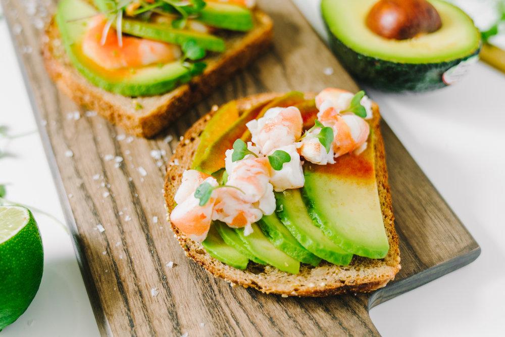 Avocado Shrimp Toast: Scandinavian Smørrebrød