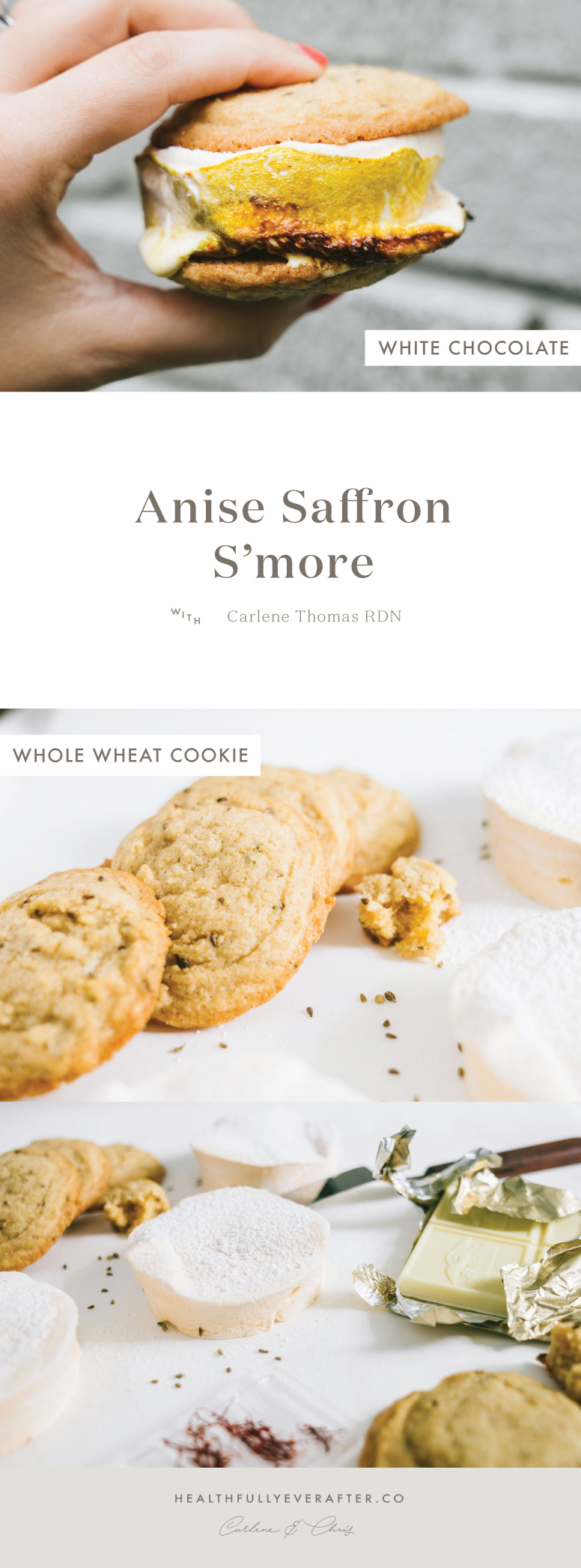 anise seed cookie smores with saffron marshmallows