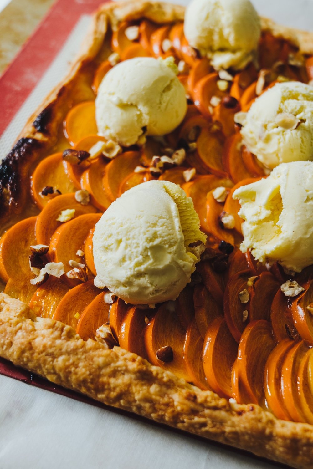 sweet persimmon tart with oatmeal ice cream