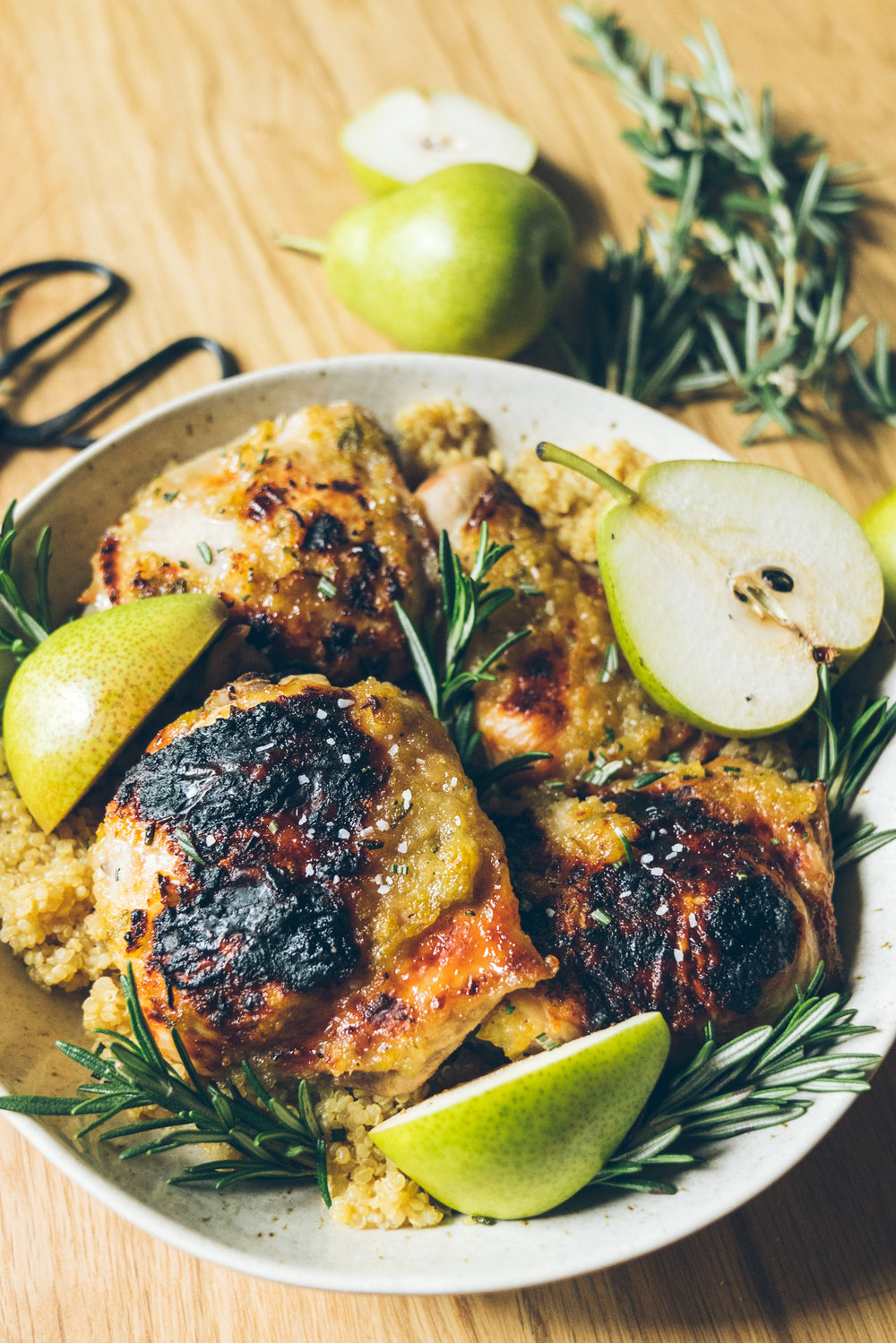 Honey Pear Glazed Chicken Thighs with Quinoa