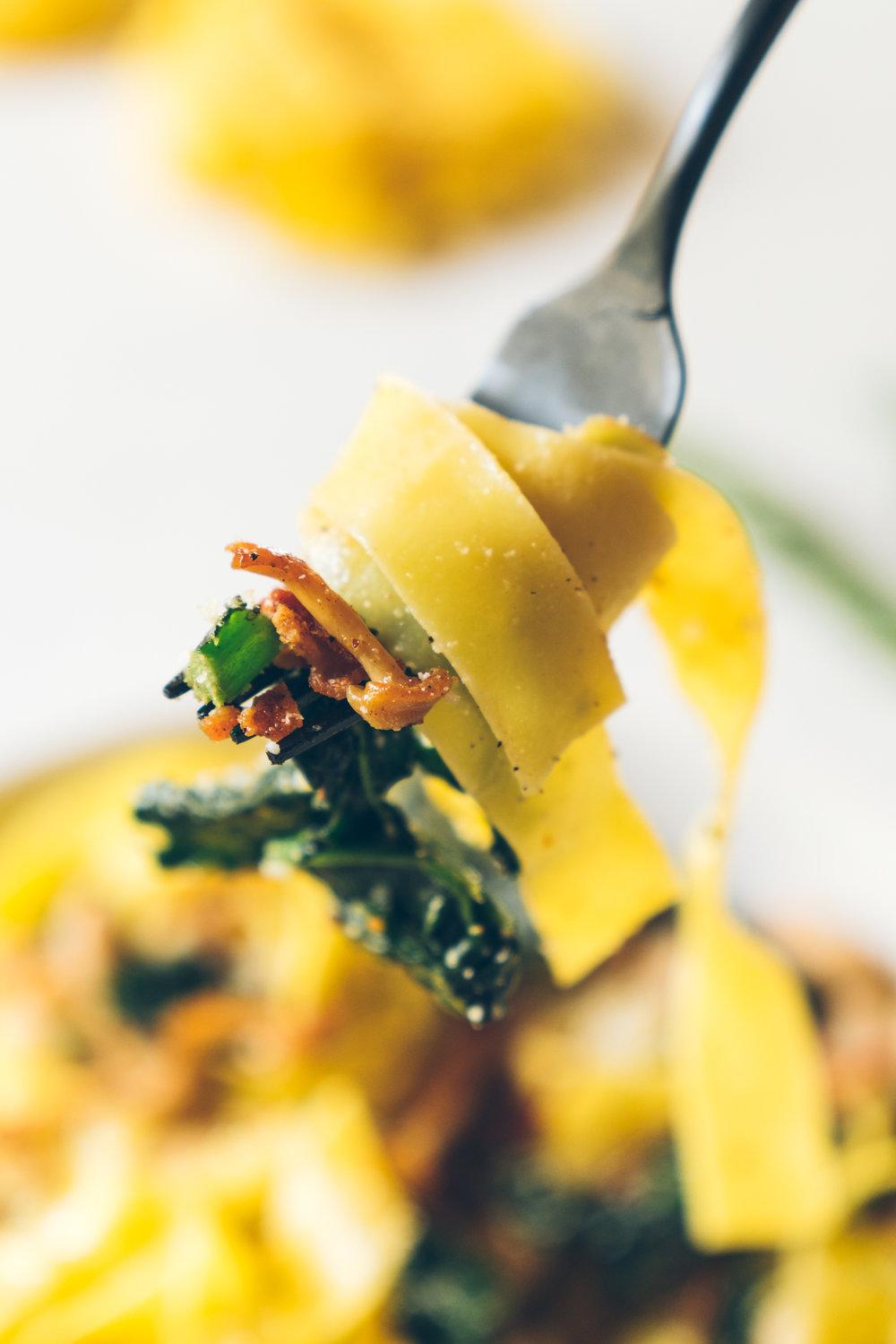 Winter White Bean Kale Pappardelle Pasta