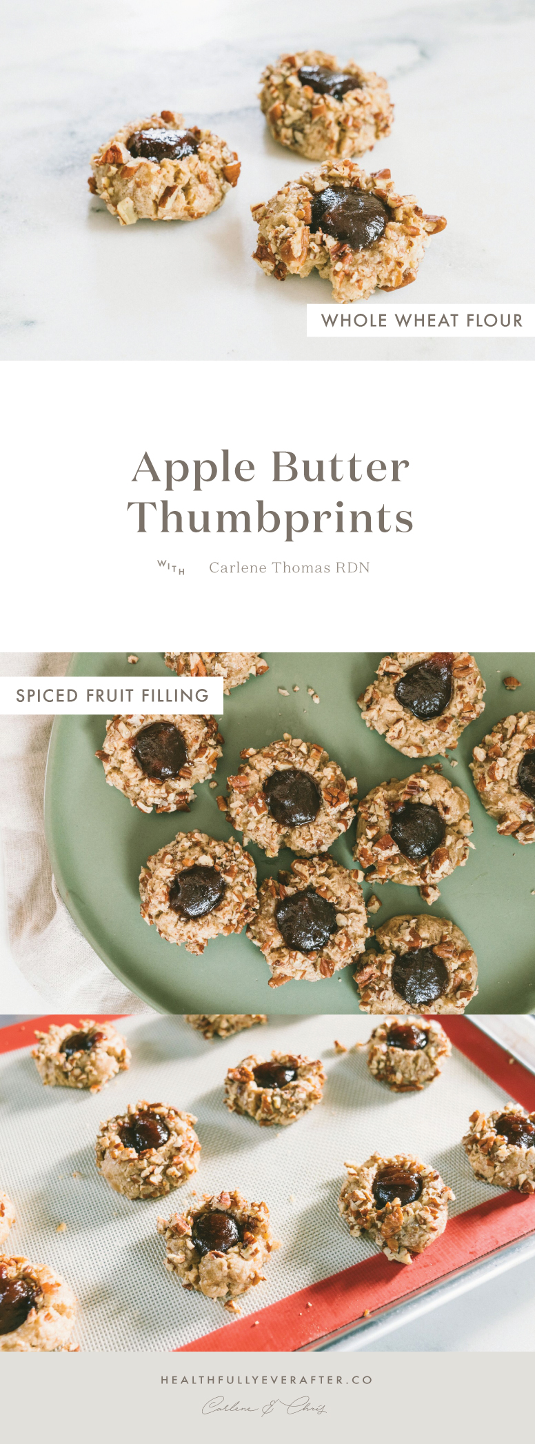 whole wheat apple butter thumbprint cookies