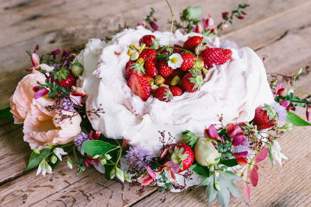 spring basil schaum torte with strawberries