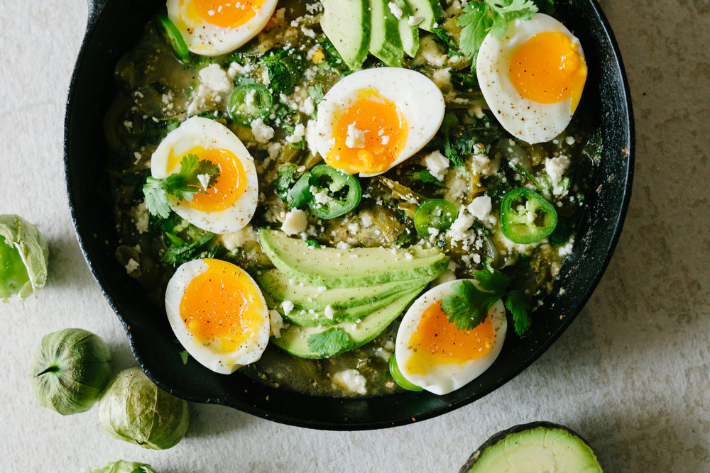 GREEN SHAKSHUKA WITH TOMATILLOS