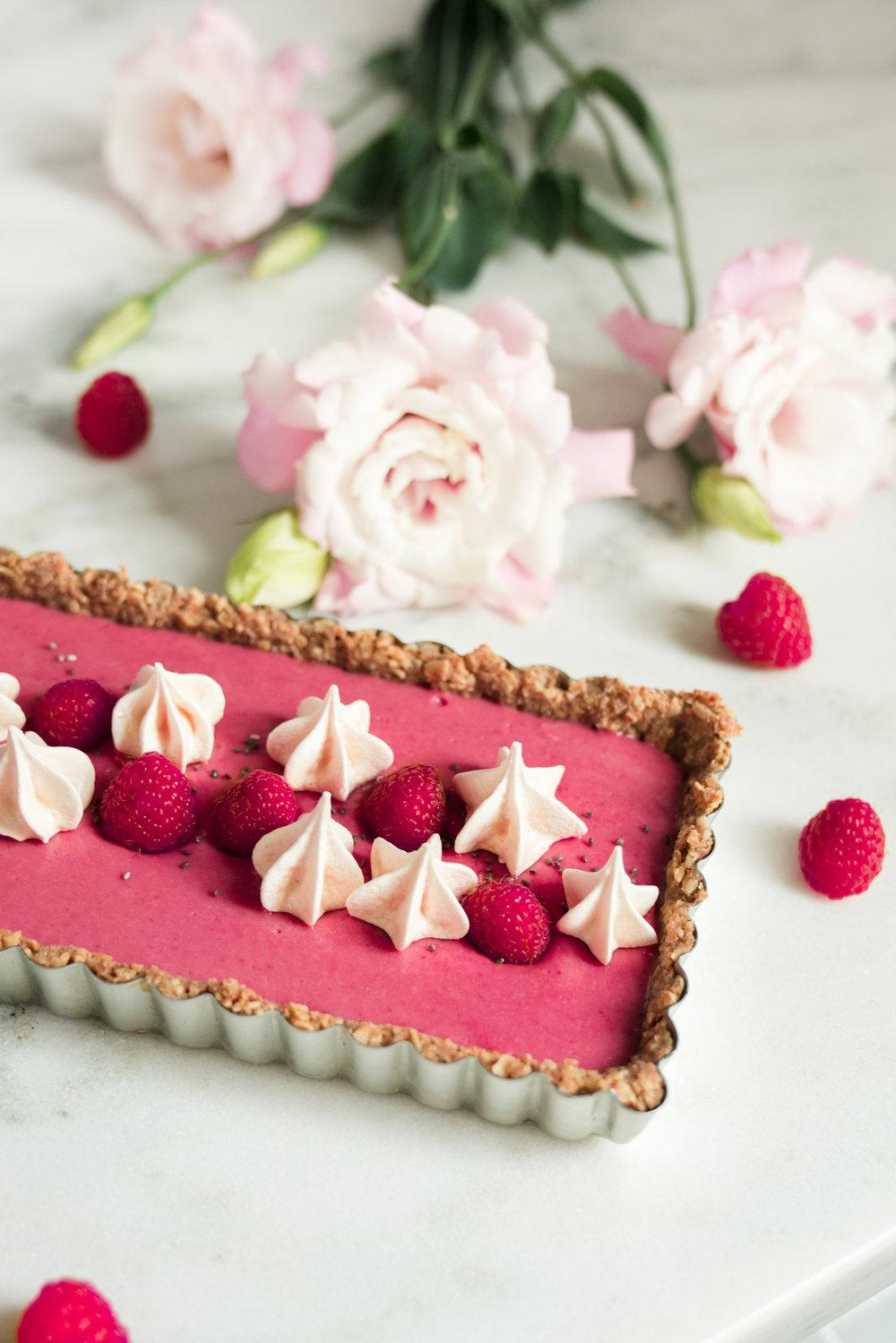 Raspberry Beet Tart with Oat Walnut Crust