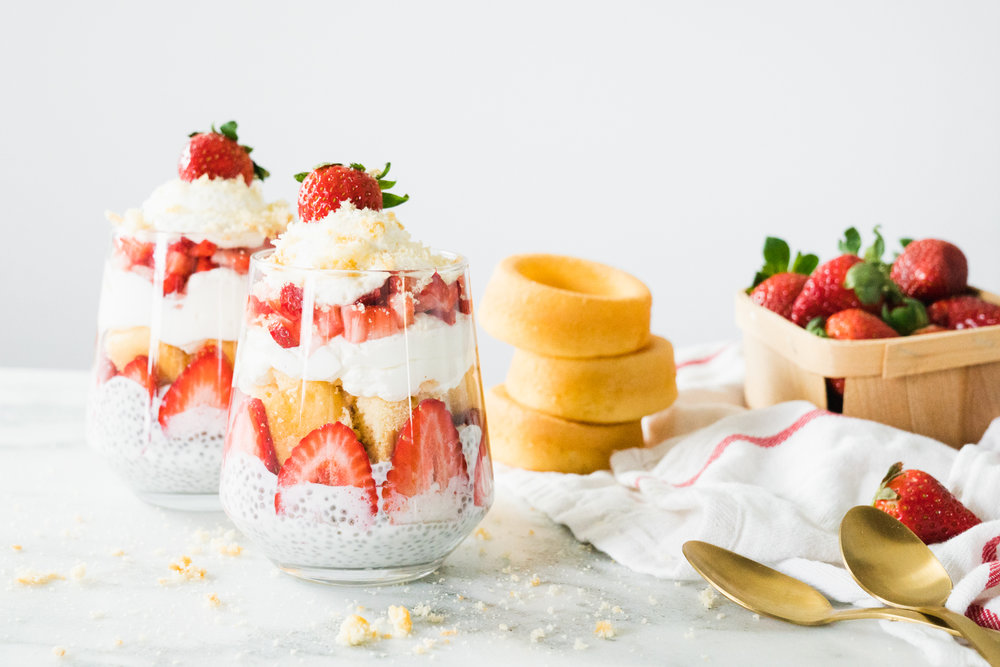 Strawberry Shortcake Chia Pudding Parfait