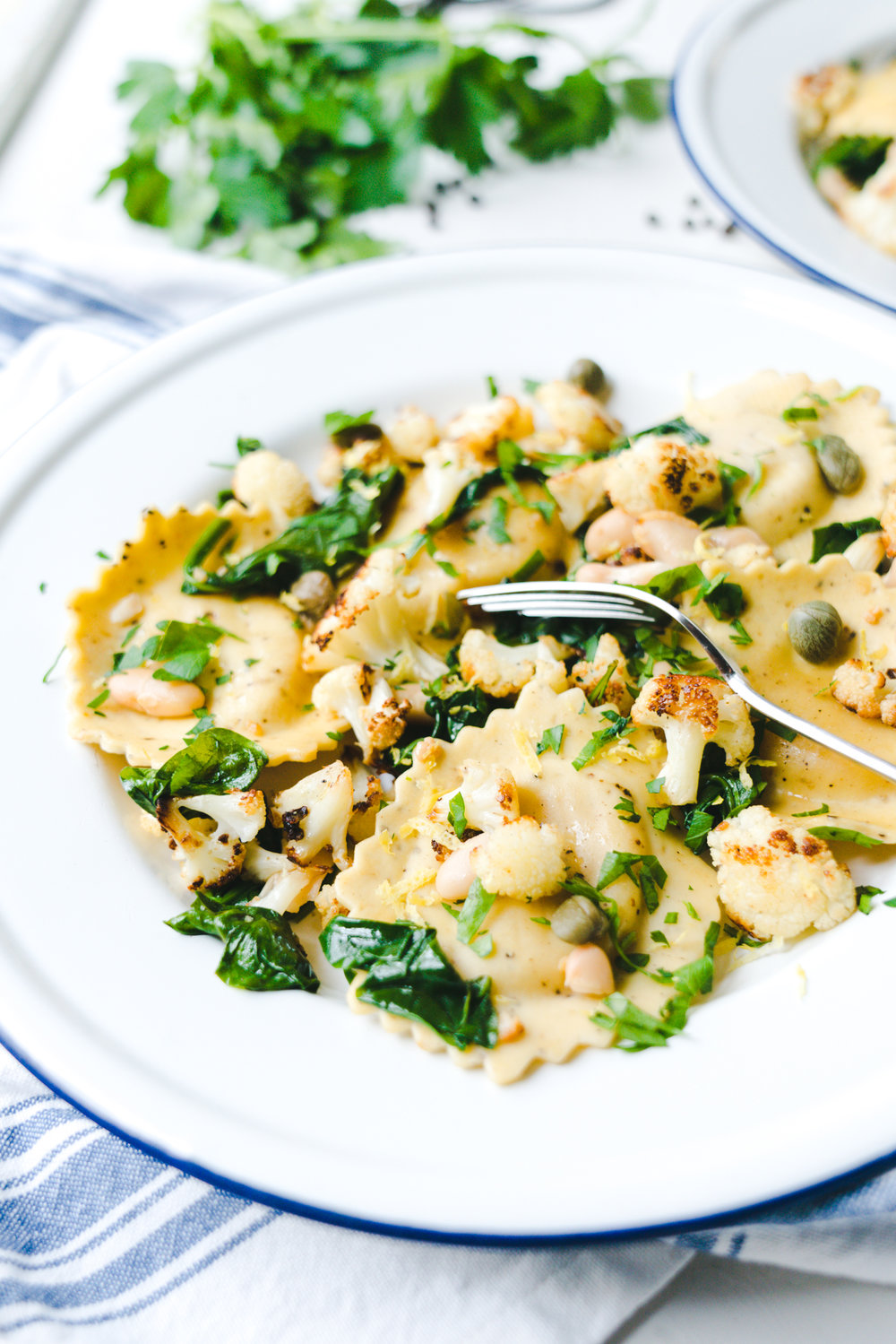 Meatless Monday – Roasted Cauliflower and White Beans with Parmesan & Black Pepper Ravioli