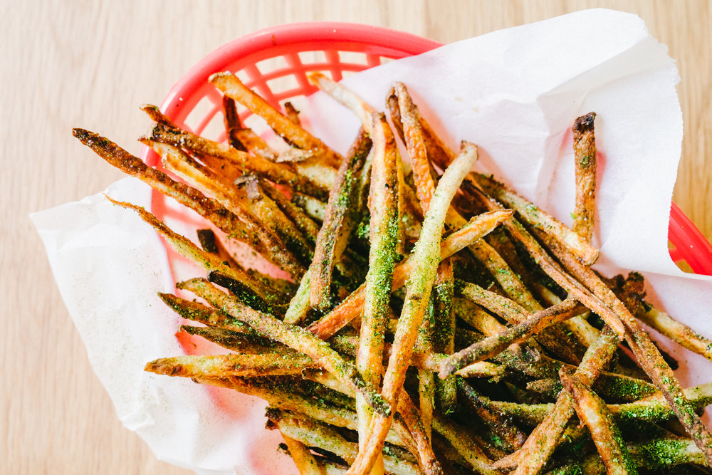 Crispy Oven French Fries with Black Garlic Onion Dip