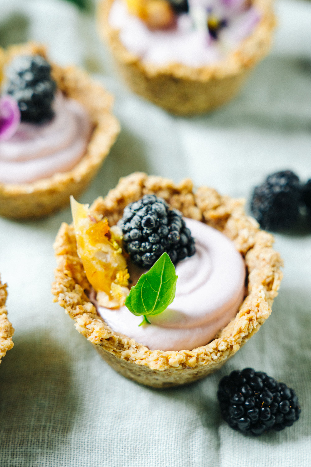 Mini Blackberry Cheesecake Tarts with Walnut Crust