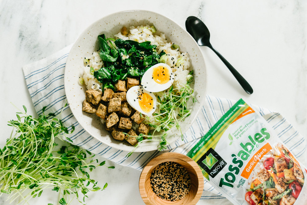 protein packed tofu jammy egg breakfast bowl
