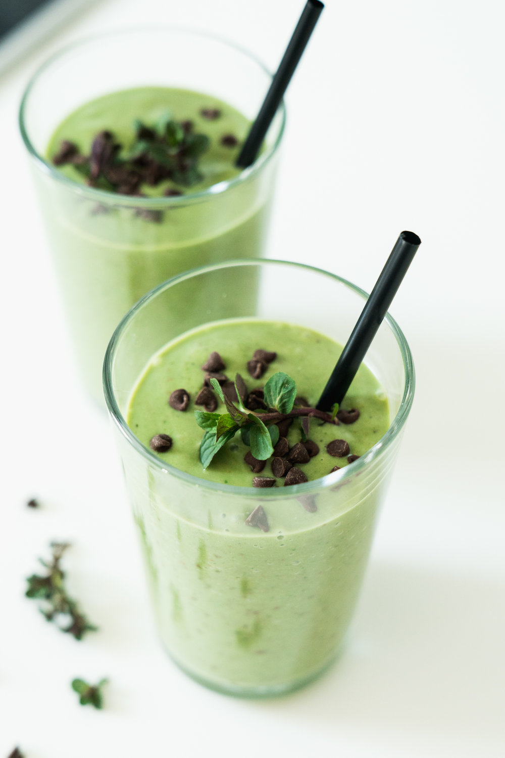 A healthy mint chocolate chip smoothie made with creamy avocado, spinach, silken tofu that tastes like mint chocolate chip. Secret ingredient? Optional CBD oil.
