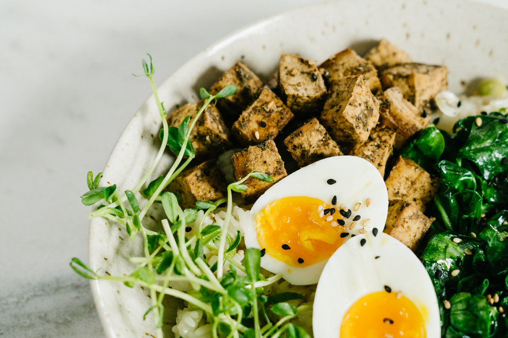Tofu Jammy Egg Breakfast Bowl