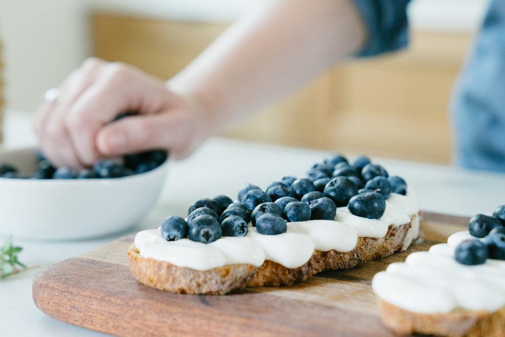 Whipped Blueberry Honey Ricotta Toast