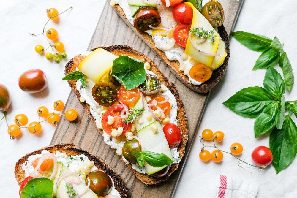 Summer Vegetable Breakfast Ricotta Toasts