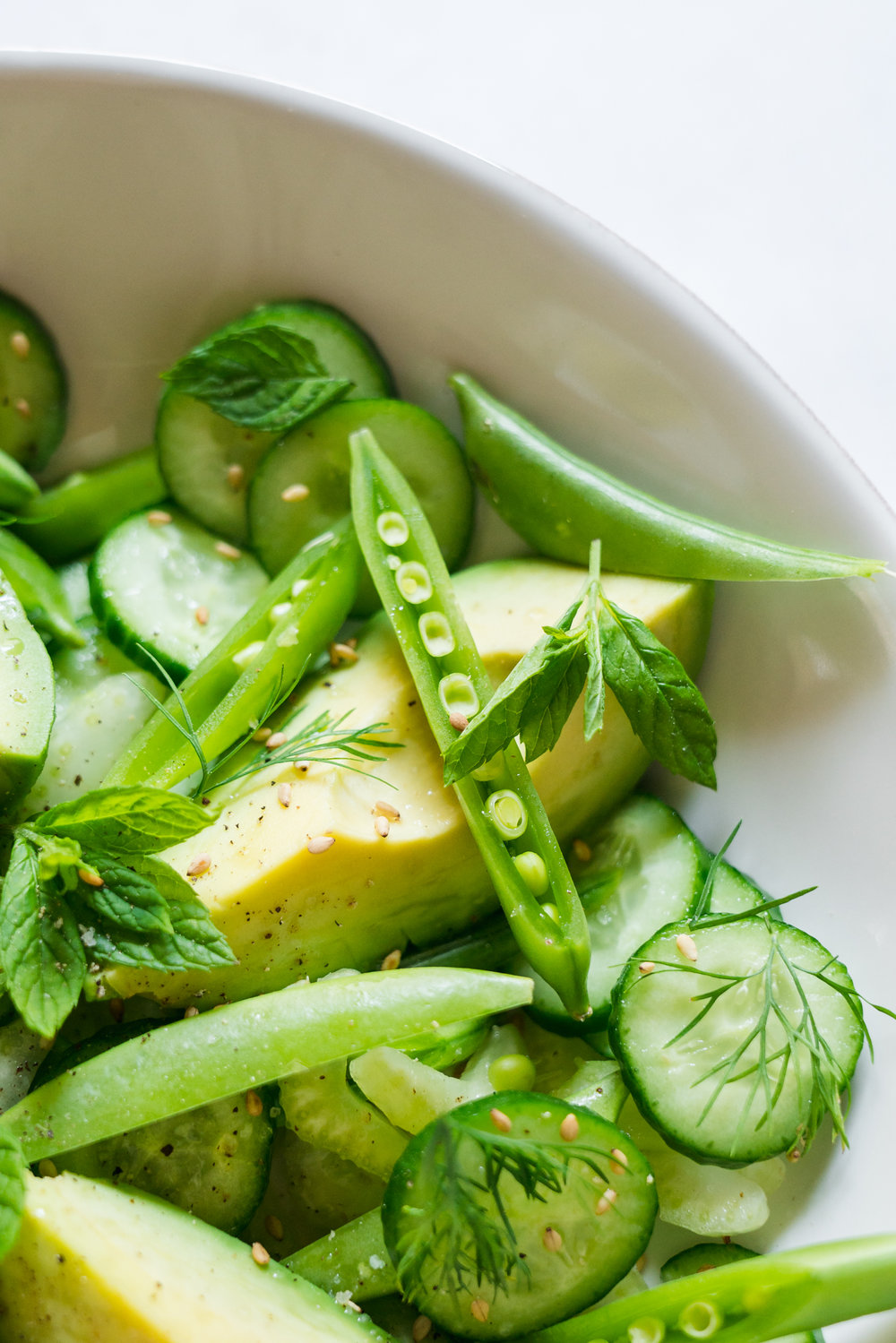 All Green No-Lettuce Salad: Cucumber, Snap Peas and Sesame Oil