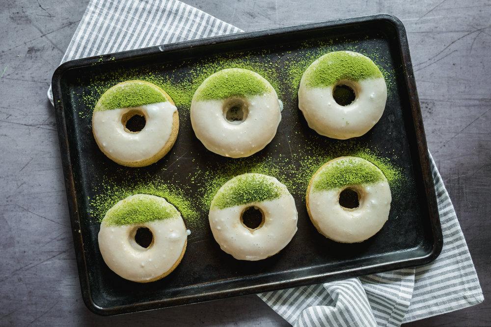 Green Tea Citrus Glazed Baked Doughnuts