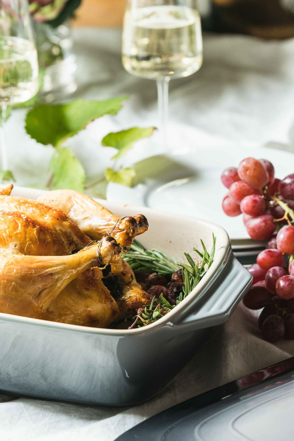 vineyard harvest whole roast chicken with wine and grapes