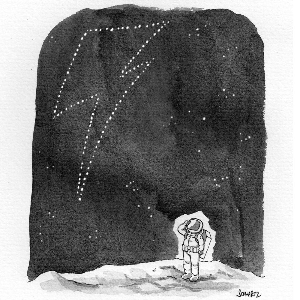 """""""The Stars Look Very Different Today"""" Cartoon by Benjamin Schwartz, New Yorker"""