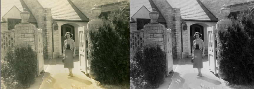 This is a before and after example from the photo restoration class : This Old Photo!